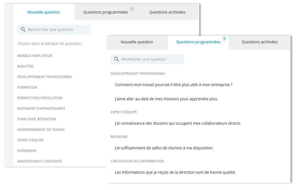 Questions personnalisées salariés Bleexo